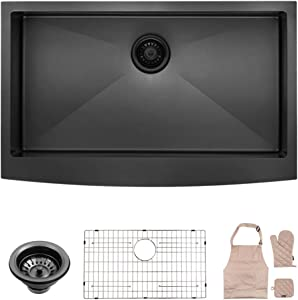 LORDEAR Matte Black 36 Inch Farmhouse Apron Single Bowl 16-gauge 10 Inch Deep Stainless Steel Kitchen Sink, LAB3621R1