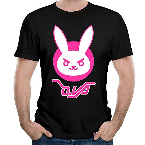 Madeleine Ellis Men's Overwatch Dva Bunny Logo Comfortable Short Sleeve T Shirt Black XL ()