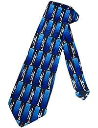 Mens Brass Trumpet Music Necktie - Blue - One Size Neck Tie