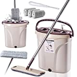 Flat Squeeze Mop and Bucket with 3 Pcs Microfiber Separate Dirty Water From Clean Water Self Cleaning Flat Mop