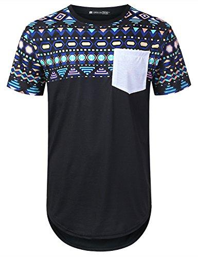 URBANTOPS Mens Hipster Hip Hop Panel Aztec Pocket Longline T-Shirt Black, S by URBANTOPS