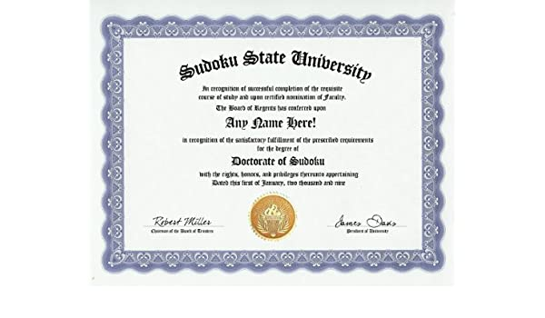 Amazon com: Sudoku Degree: Custom Gag Diploma Doctorate Certificate