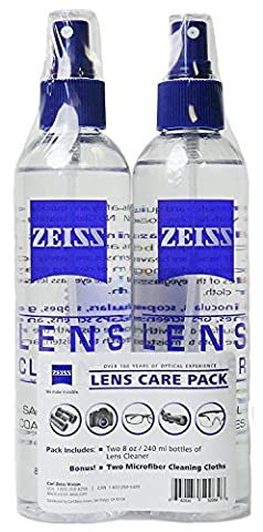 Zeiss Lens Care Pack - 2 - 8 Ounce Bottles of Lens Cleaner, 2 Microfiber Cleaning Cloths - Optical Cleaner