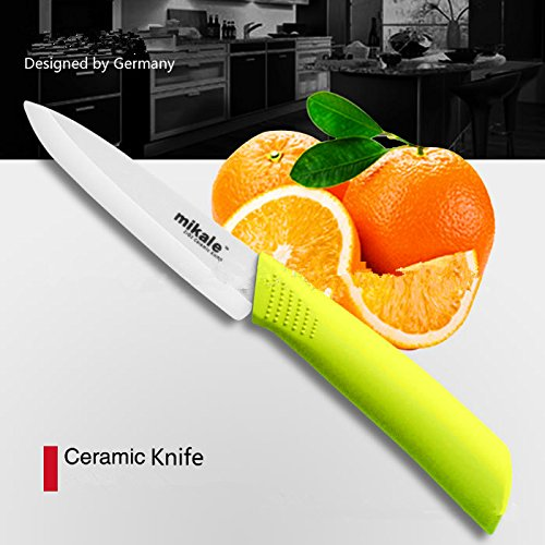 Purchase Mikale 5 Inch Ceramic Fruit Knife with Soft Grip Handle / with Sheath and White Blade. (yellow) deal