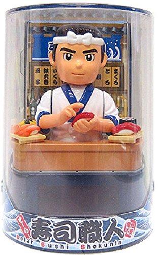 Santa Japanese sushi chef solar figurine