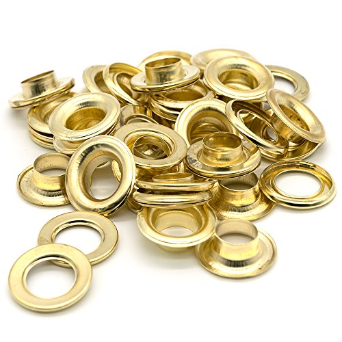 Ram-Pro 1/2 Brass Grommets Eyelets with Washers Kit, Solid Metal Antique Style Eyelet Repair Replacement Pack, Sets of 25