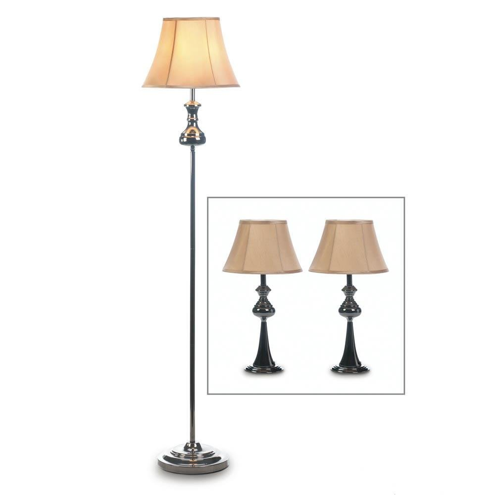 Floor Desk Lamp, Metal Table Lamp Sets For Bedroom - 3 Lamps Set, Black