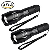 Akaho LED Tactical Flashligh - High Lumen Handheld Flashlight - Zoomable, Water Resistant, Ultra Bright Tac light with 5 Light Modes - For Outdoors Camping Emergency - 2 Pack