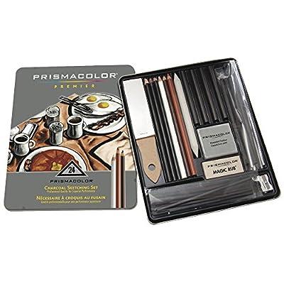 Charcoal Sketching & Drawing Set with Metal Storage Box, 24 Pcs