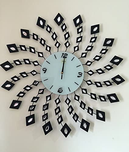 Handmade Decorative Larger Metal Wall Clock Black Geometry 28''inch Clock Face 9''inch Spin