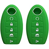 KAWIHEN 2 Pcs Silicone Keyless Entry Case Cover Smart Remote Key Fob Cover Protector For Nissan 5 button Armada Murano Maxima Altima Sedan Pathfinder 285E3-3TP5A KR5S180144014(green)