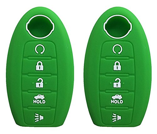 Green Sedan - KAWIHEN 2 Pcs Silicone Keyless Entry Case Cover Smart Remote Key Fob Cover Protector For Nissan 5 button Armada Murano Maxima Altima Sedan Pathfinder 285E3-3TP5A KR5S180144014(green)