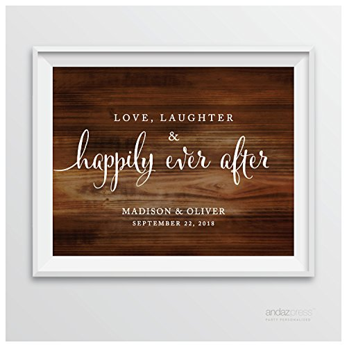 (Andaz Press Personalized Wedding Party Signs, Rustic Wood Print, 8.5-inch x 11-inch, Love, Laughter & Happily Ever After, 1-Pack, Custom Made Any Name )