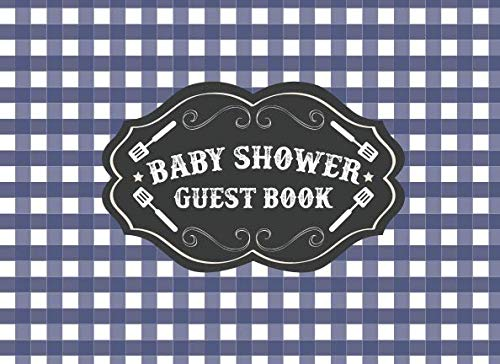 Baby Shower Guest Book: BBQ BabyQ Baby Shower | Blue Gingham Plaid Gift Log | Barbeque Picnic Theme