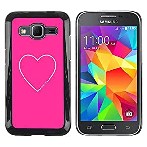 LECELL--Funda protectora / Cubierta / Piel For Samsung Galaxy Core Prime SM-G360 -- Heart Text Love Sweet Minimalist White --