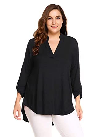 7590e05d97f7e2 AMZ PLUS Women's Plus Size Tunic Shirts 3/4 Cuffed Sleeves V Neck Flowy High