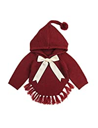 LIKESIDE Newborn Baby Boy Girls Bow Tassel Knitted Hooded Tops Sweater Outfits