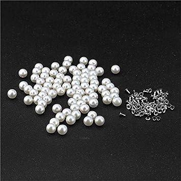Kamas 100PC/Pack 8MM Imitation Pearl Rivets DIY Garment Accessories Hat Bag Craft Decor Rivets Pearls Set Single Hole Hand Press Rivet - (Color: 8MM, Size: 8MM)