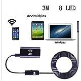 Wireless USB Endoscope, 8mm Digital Wifi USB Inspection Camera Borescope 2.0 Megapixels CMOS HD IP67 Waterproof Snake Camera with 8 Adjustable Led Light - 9.8ft 3M