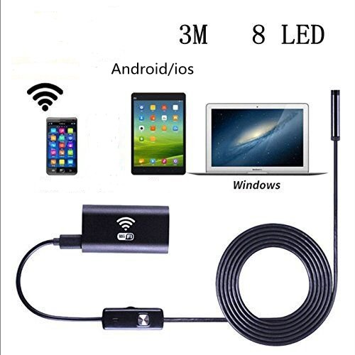 Wireless USB Endoscope, 8mm Digital Wifi USB Inspection Camera Borescope 2.0 Megapixels CMOS HD IP67 Waterproof Snake Camera with 8 Adjustable Led Light - 9.8ft 3M