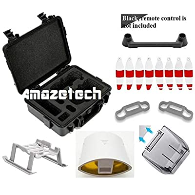 Amazetech Mavic Mini Carrying Case Bundle with Propeller Guards, Landing Gear Extension, Signal Extension, Lens Hood, Extra 4 Pair Mini Propellers & More Compatible w/DJI Mavic Mini: Camera & Photo
