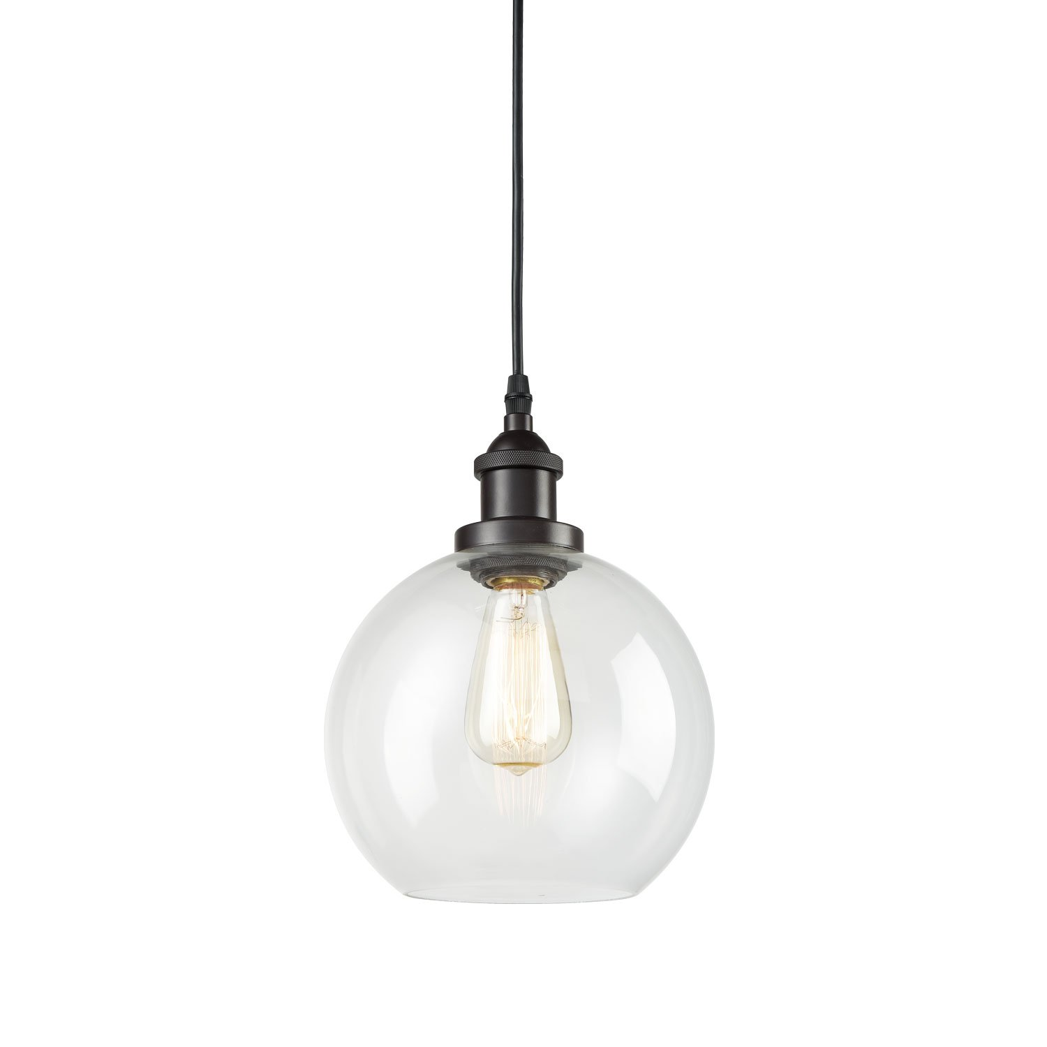CLAXY Ecopower Lighting Vintage Clear Glass Globe Pendant Oil Rubbed Bronze Kitchen Hanging Light