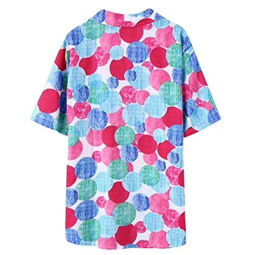 Mens Ethnic Printed Shirt 2019 New V Neck Color Block Button-Down Collar Tops Shirts (M, Multicolor)
