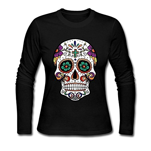 Qear Flower Colorfu Skull Women's Long-sleeved Round Neck T-shirts Black - Price Day Delivery Ups Same