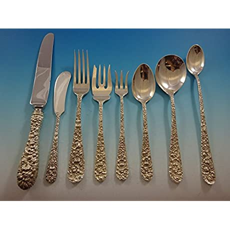 Rose By Stieff Repousse Sterling Silver Flatware Set Service 52 Pieces