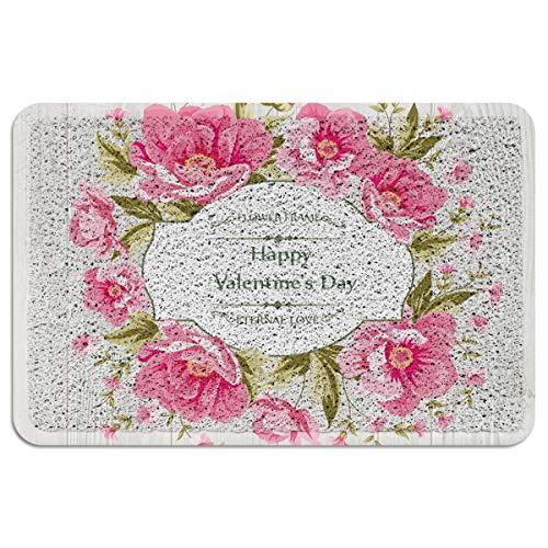 BestLives PVC Doormat Wire Loop Flowers Wedding Invitation Card Welcome Non Slip Entrance Door Mats Home Kitchen Bathroom Rug Indoor Outdoor Area Runner Shoe Scraper - 2'x3' -