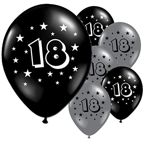 Birthday Printed Latex Balloons (Black Silver 18th Birthday Party 11