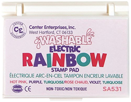 Center Enterprise SA531 Washable Electric Stamp Pad, Pink/purple/Turquoise (Rainbow Stamp Washable Pad)