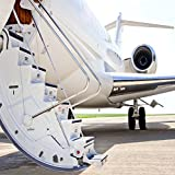 OFILA Airport Backdrop 8x8ft Stairs With Jet Engine on Private Airplane Luxury Holiday Travel Business Trip Kids Birthday Celebration Party Background Honeymoon Trip Adults Children Shoots Props