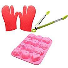 Food Grade Silicone Bakeware Set - Sugarcraft Silicone Mold, Silicone Kitchen Gloves & Silicone Locking Tongs - 12 Cavity Bakeware Molds for Cupcakes, Candy, Tea Cake, Fondant, Chocolate, Jello, Brownie, Mini Muffin Pan, Cake Pop, Pudding, Sugarcraft - Protective Oven, Grill, BBQ, Fireplace, Microwave, Baking, Smoking and Cooking Gloves for Men and Women - Silicone Locking Tongs with Scalloped Gripping Edges for Salad, Ice Bucket, BBQ