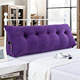 VERCART Sofa Bed Large Filled Triangular Wedge Cushion Bed Backrest Positioning Support Pillow Reading Pillow for Daybed Office Lumbar Pad with Removable Cover Purple Twin