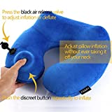 FANRY Push-Button Inflatable Travel Pillow Luxuriously Soft Inflatable Neck Pillow with Velvet Neck Support for Sleeping on Airplane, Car, and Train