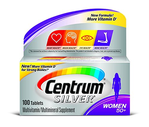 Centrum Silver Women 50+ Multivitamin/Multimineral Supplement Tablets, 100 Count Pack of 4 by Centrum