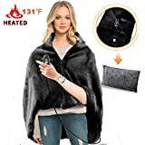 RTDEP USB Heated Shawl Heated Blanket Plush Throw Blanket with Pillowcase, Heated Throw Electric Lap Blanket as a Pillow, Heated Cape Lap Blanket Heated Flannel Blanket 46x35Inch(Black)