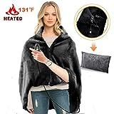 RTDEP USB Heated Shawl Heated Blanket Plush Throw Blanket with Pillowcase, Heated Throw Electric Lap Blanket as a Pillow, Heated Cape Lap Blanket Heated Flannel Blanket 46x35 Inch(Black)