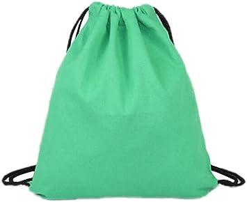 Laat, bolsa de cordón de tela plegable, duradera, con cordón, mochila de bolsa de deporte, viaje, gimnasio para hombres y mujeres (9 colores), verde: Amazon.es: Deportes y aire libre