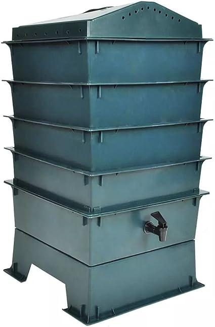 Festnight Composteur pour Jardin Poubelle de Table /à Compost Bac /à Compost de Jardin 650 L Plastique