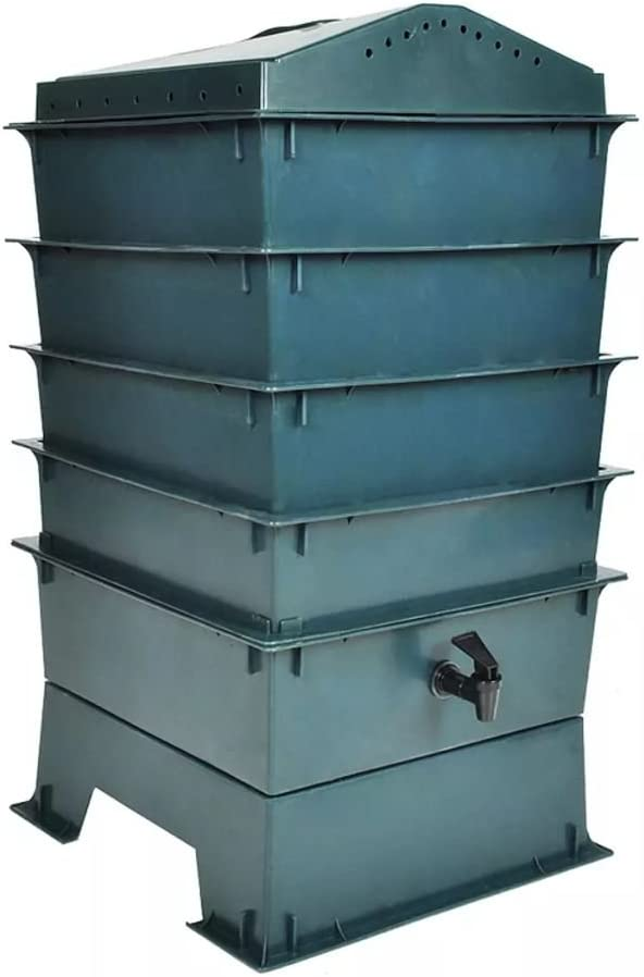 4-Tray Worm Factory Composter Waste Bin System Garden worm bedding Gardening new