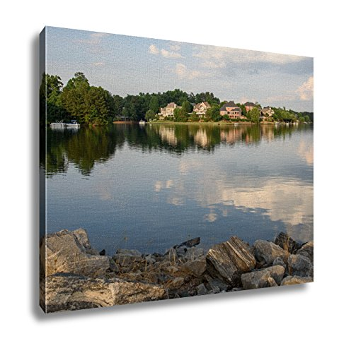 Ashley Canvas, Lakefront Houses Facing The Sunset On The Atlanta Suburbs, 24x30