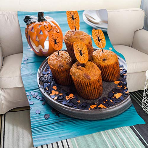 (BEICICI Art Design Photos Cool Quilt Pumpkin Muffins for Halloween Kids Party Fun Design All-Season Blanket Bed or)