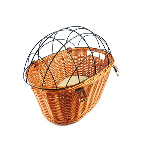 Liitrton Detachable Bicycle Basket for Dogs Hand Crafted Wicker Dog Carrier for Small Pet ()