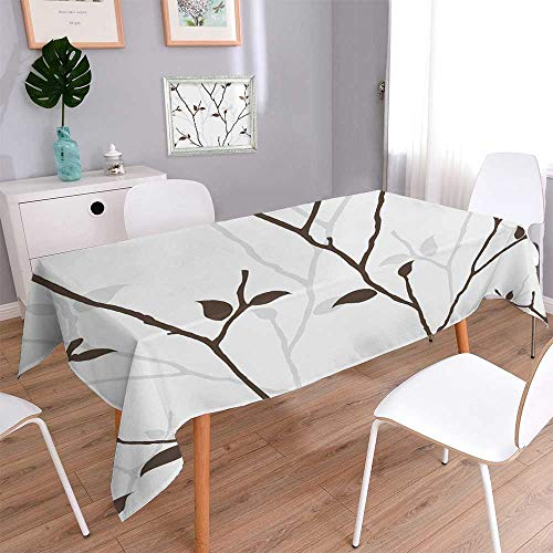 PINAFORE HOME Harmony Scroll Tablecloth Seamless with Leaves Silhouette Seamless Paper with Ative Twigs Summer & Outdoor Picnics/Rectangle, 70 x 120 Inch