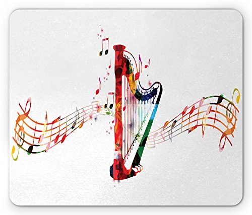 Harp Mouse Pad by Lunarable, Colorful Concert Harp with Music Staff and Notes Artistic Creativity Harmony Composer, Standard Size Rectangle Non-Slip Rubber Mousepad, Multicolor (Music Staff Notes)