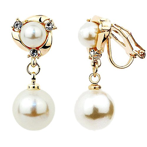 Double Shell Beads Earrings for Women, Clip on Earrings Back with Rubber Ears Plug, Fashion Earrings by Happystore