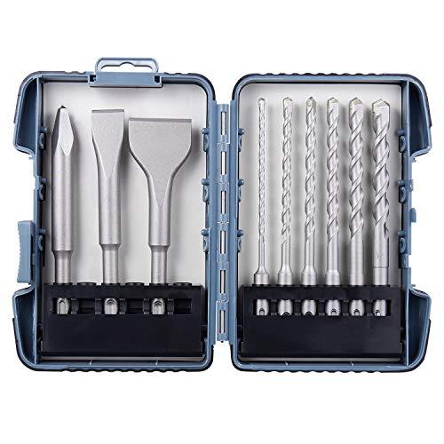 (Firecore 9Pcs SDS Plus Hammer Drill Bits & Masonry Trade Chisel Set and Carbide)