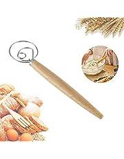 "Danish Dough Whish Bread Mixer, Tezam 13"" Stainless Steel & Wooden Danish Whisk - Dutch Style Artisan Blender for Bread, Batter, Cake, Pastry, and More"